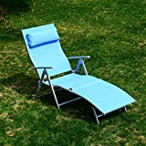 Outsunny Heavy-duty Adjustable Folding Reclining Chair Seat Outdoor Chaise Lounge Patio Beach Camping Zero Gravity Lounge with Pillow (Blue)