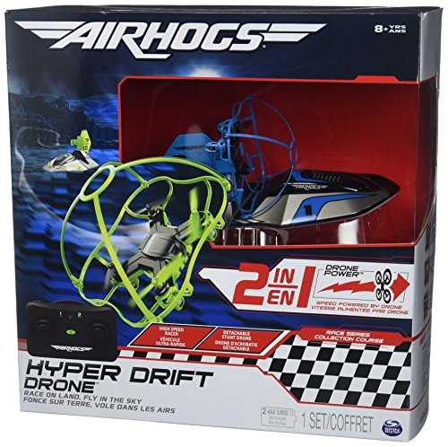 Air Hogs 2-in-1 Hyper Drift Drone for High Speed Racing and Flying - Blue -