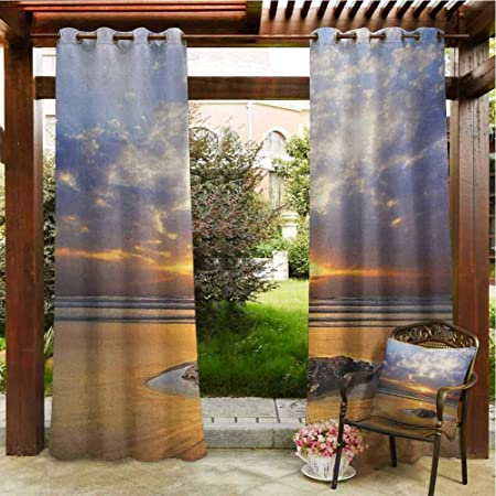 Amazon Com Ocean Pergola Grommet Curtain Reflection Of Sunset On The Coast Sunbeams Cloudy Sky Tourist Attraction Image Outdoor Curtain For Patio Outdoor Patio Curtains 120x96 Inch Yellow Sand Grey Garden