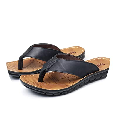 69c1211c00ba Cow Leather Beach Slippers Flip Flops with Soft Sole Trendy Breathable Shoes