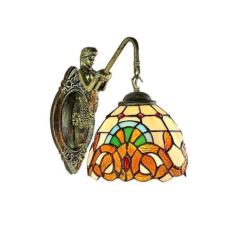 Amazon.com: Lámpara de pared estilo Tiffany para dormitorio ...