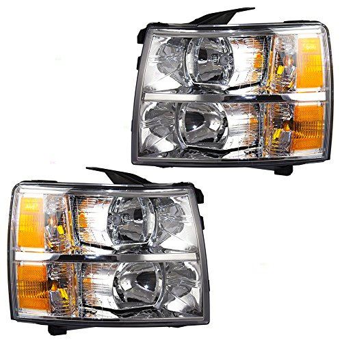 Headlights Headlamps Driver and Passenger Replacements for 07-13 Chevrolet Silverado Pickup Truck 22853027 ()