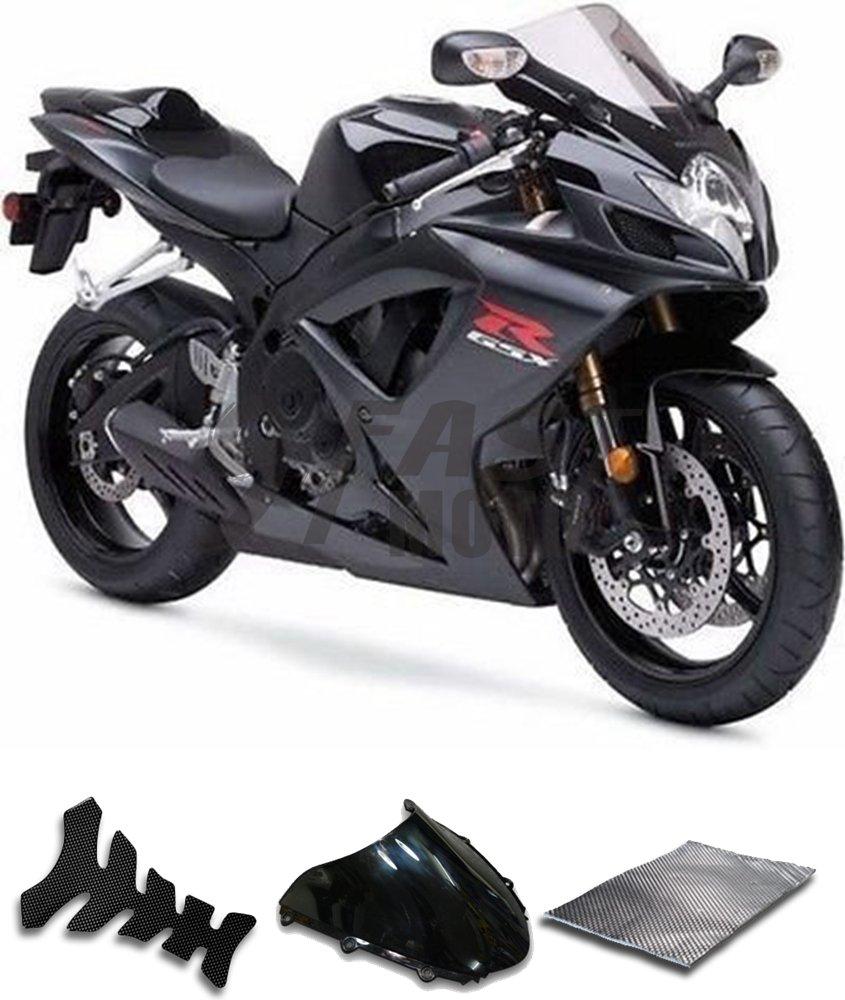 9FastMoto suzuki スズキ 2006 2007 GSX-R600 GSX-R750 K6 06 07 GSXR 600 750 K6 用フェアリング オートバイフェアリングキット ABS 射出成形セット スポーツバイク カウル パネル (ブラック) S1236   B07BMV2K48