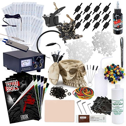 Rehab Ink Complete Tattoo Set w/ 2 Machines, Power Supply, Millennium Mom's Ink, Skull Ink Holder & More (Best Skull Tattoos For Guys)