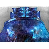 Ammybeddings 4 Piece Blue Duvet Cover with 2 Pillow Shams and 1 Sheet,Digital Print 3D Galaxy Bedding Sets Twin/Full/Queen/King,Blue/Red,Luxury Soft Stylish Home Decor Bedding,
