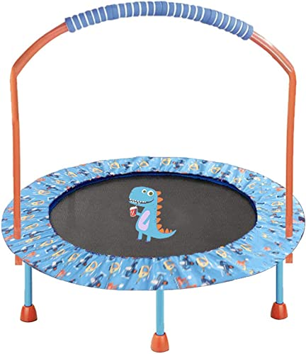 LBLA 38 Mini Trampoline for Kids 3-10 Adjustable Handrail and Safety Padded Cover Foldable Bungee Rebounder Portable Kids Trampolines Exercise Indoor Outdoor