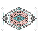 VROSELV Custom Door MatTribal Decor Mexican Native American Ethnic Symmetrical Four Corner Art Pattern Teal and Coral Pink