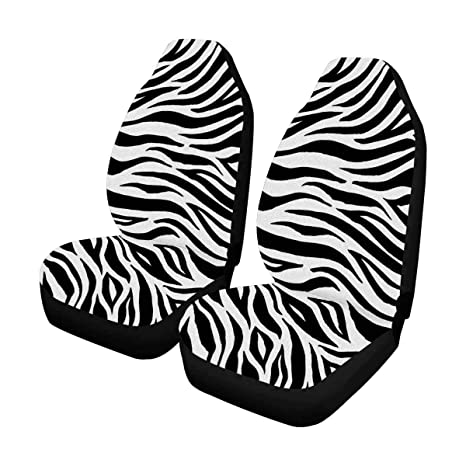 InterestPrint Auto Seat Protector 2 Pack Zebra Print Car Covers Front Seats Only Universal