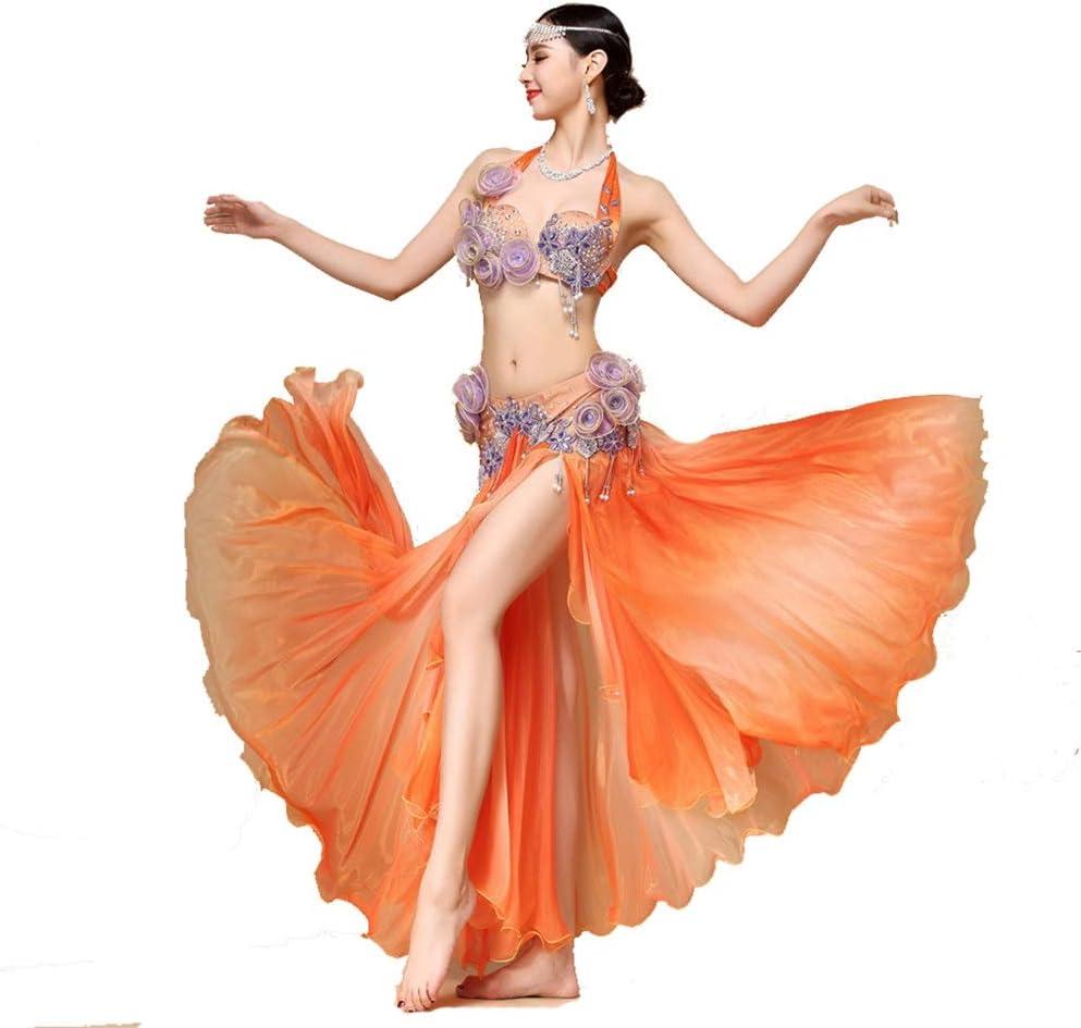 ラテンダンスドレス ブラトップセクシーなトライバルベリーダンスブラベルトカーニバルスーツセットワンサイズ 女性ダンス衣装 (色 : オレンジ, サイズ : M) オレンジ Medium