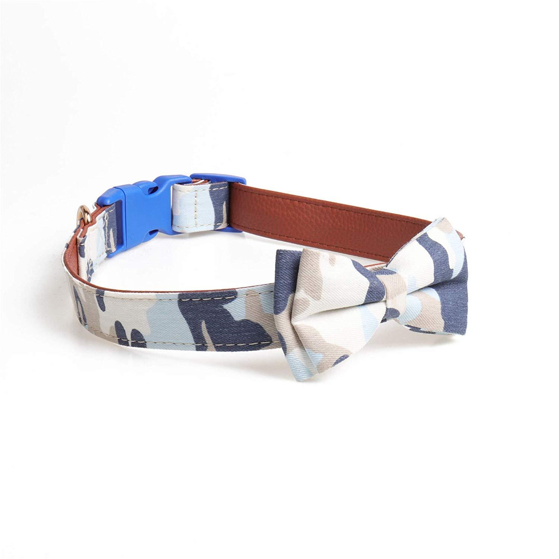 bluee 2.5×3655cm Pet collar Large dog camouflage bow buckle dog collar in pet collar,green,1.5×24.535cm (color   bluee 2.5×3655cm)