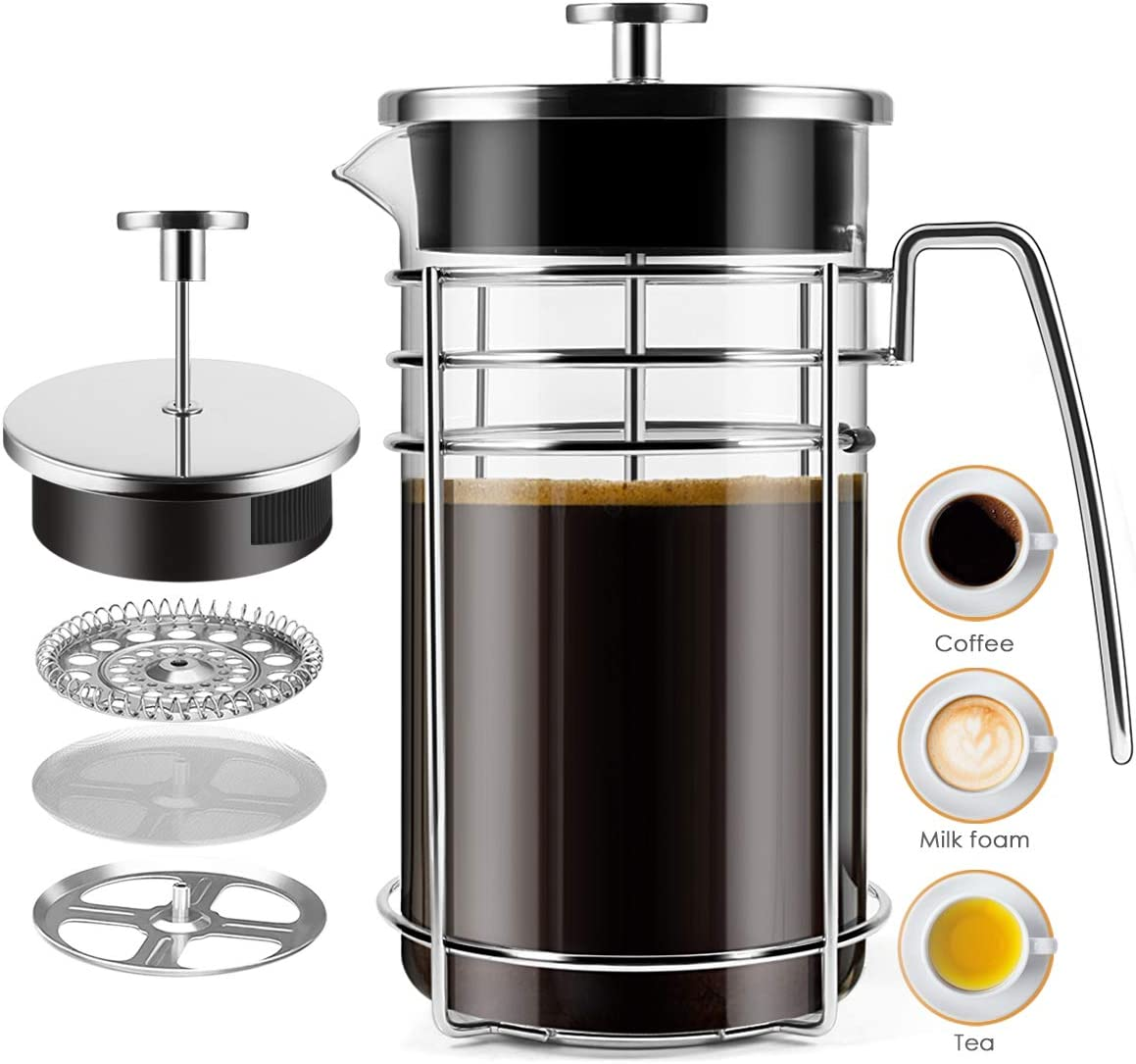 French Press Coffee Maker, 8 Cups 34 oz Durable Easy Clean Coffee Pot Heat Resistant Borosilicate Glass – 100 BPA Free