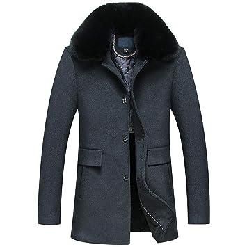 Chaqueta De Abrigo De Invierno para Hombre Cool Coat Forrada con Cuello De Piel Desmontable Cazadora Informal De Negocios Outwear Parka Navy Gris: ...