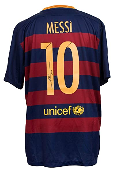 6588e1f1361 Lionel Messi Signed Nike 2015/2016 Barcelona Home Soccer Jersey 2X-Large  Messi COA
