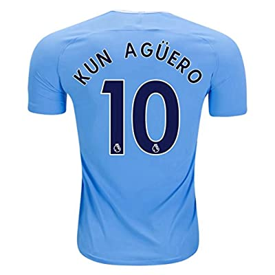 2017/2018 Kun Aguero #10 Manchester City Home Soccer Jersey Mens Blue Color Size M