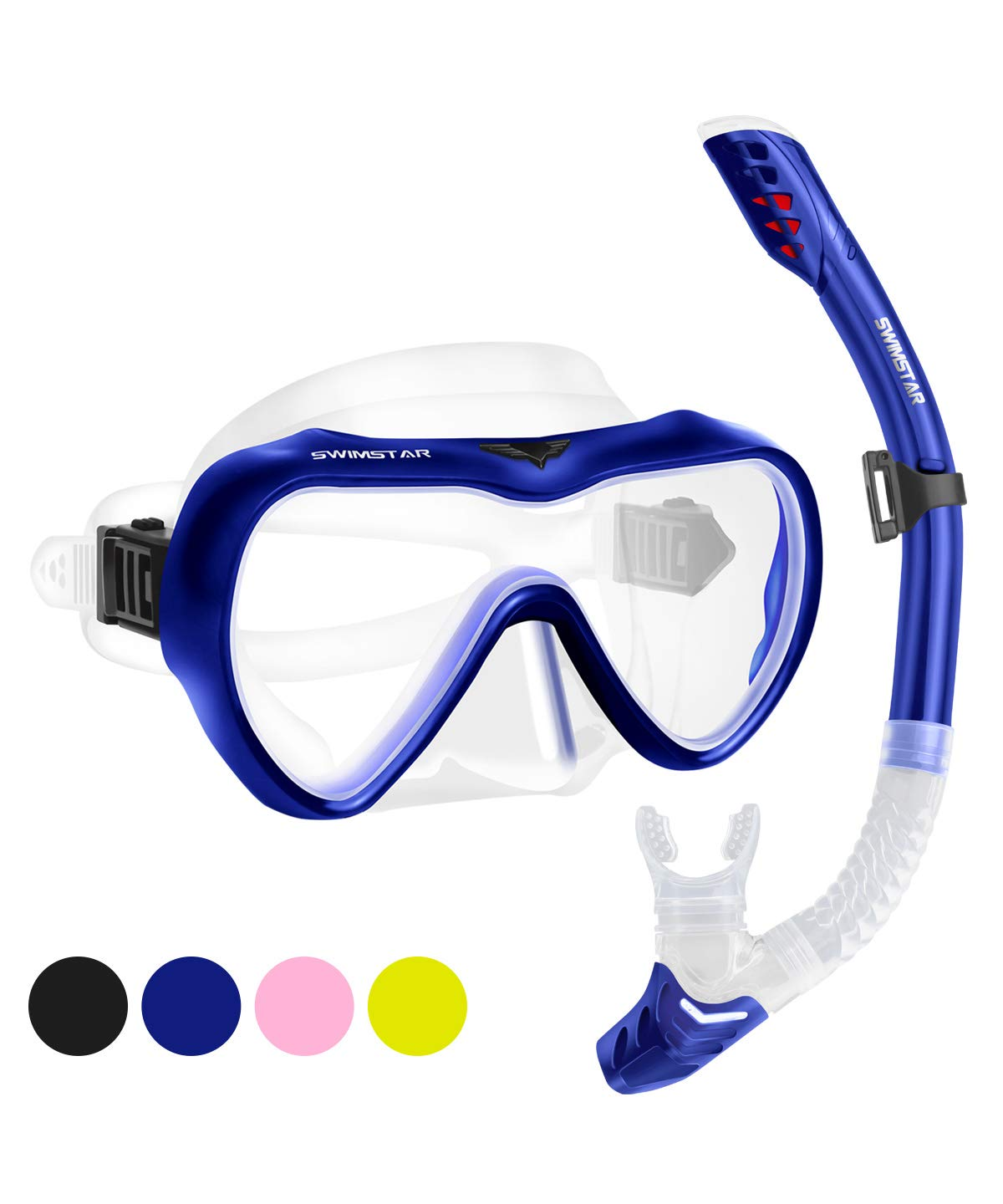 2019 Snorkel Set for Women and Men, Anti Fog Tempered Glass Snorkel Mask for Snorkeling, Swimming and Scuba Diving, Anti Leak Dry Top Snorkeling Gear Panoramic Silicone Goggle No Leak Blue by SwimStar
