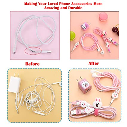 DIY Protectors Apple USB Data Line Cable Charger Earphone Wrap Elastic Wire Saver Protector Compatible with iPhone 5 5S SE 6 6S 7 8 Plus X XS Max iPad ZOEAST No Box, Cat Paw TM