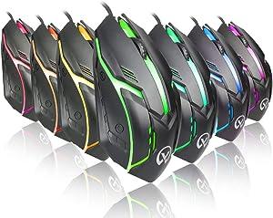 Wired Backlit USB Gaming Mouse LED Light 2400DPI Optical Ergonomic Pro Gamer Gaming Mouse Metal Plate (Black)