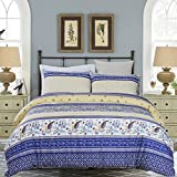 #3: Vaulia Lightweight Microfiber Duvet Cover Set, Printed Floral Pattern Design - King