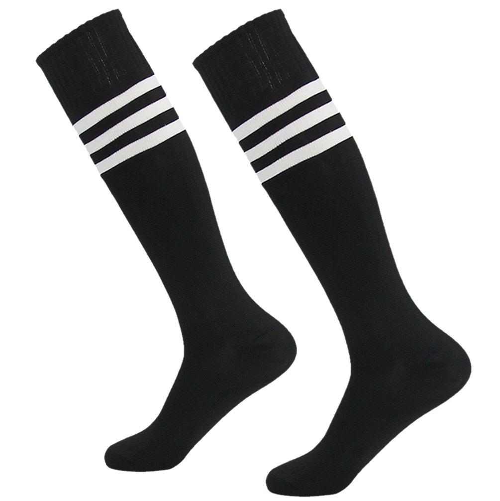getsporユニセックスFootball Socks Knee HighアスレチックサッカーチューブSock 2 / 4 / 6 / 12ペア B077JL42RQ Black 2 Pairs Black 2 Pairs
