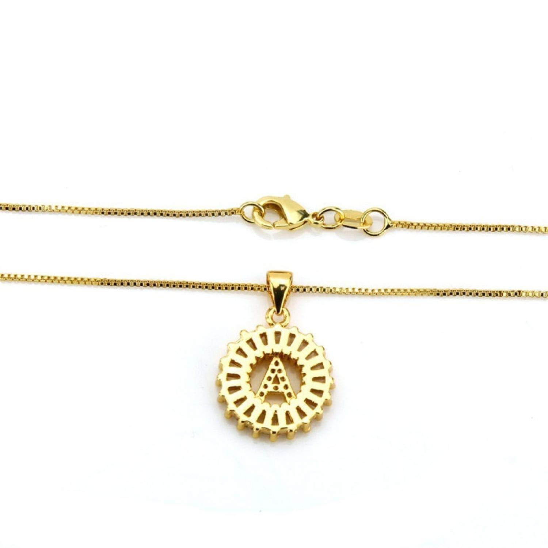 Michell Ivan 26 Alphabet Letter Pendant Initial Letter Necklack Cubic Zirconia A-Z Initial Charm Choker Chain Necklace Women Jewelry R3,Black,C