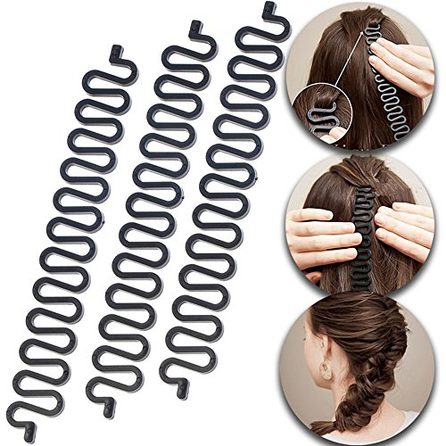 3 Pcs Hair Braiding Tool Roller With Hook Magic Hair Twist Styling Bun Maker DIY Hair Style Accessories Black