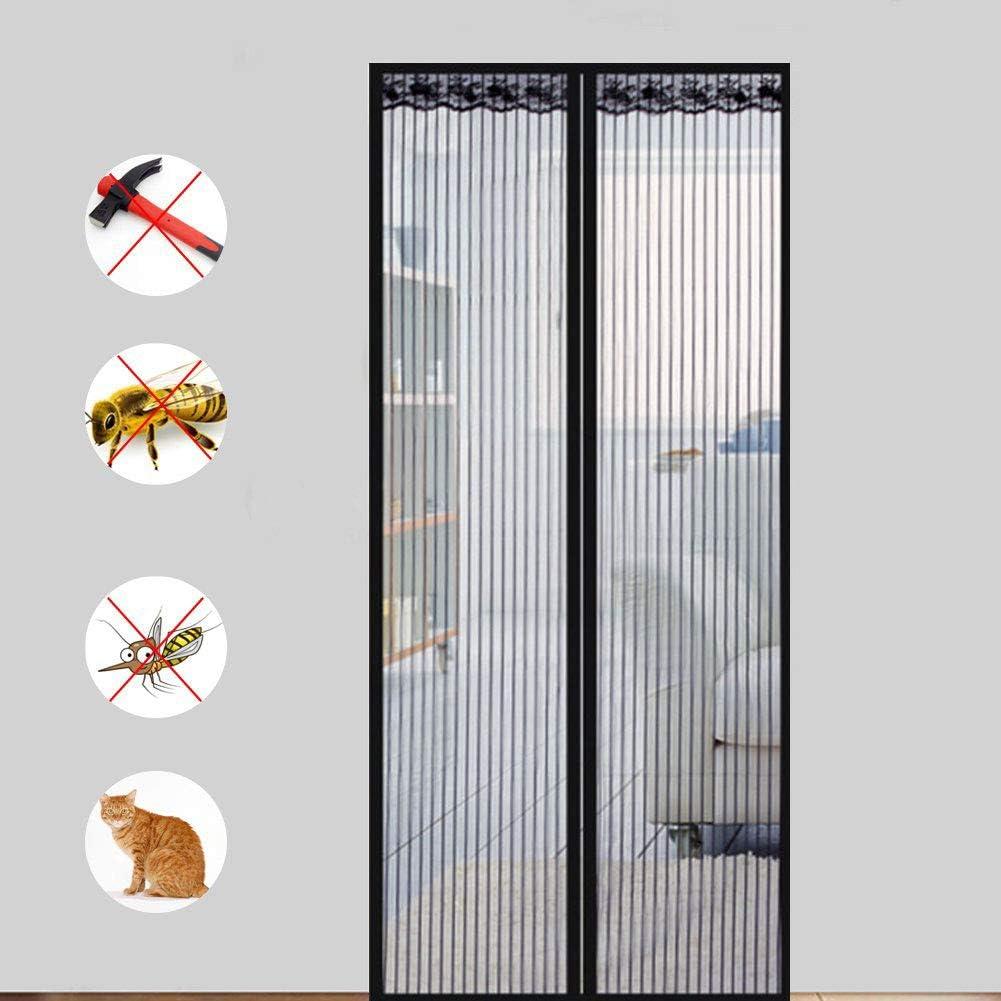 Puerta De Pantalla Magnética,Cortinas para Puertas De Malla,Puertas Correderas,Garaje,Pesca En Barco-Super Tranquilo,Manos Libres-Deje Aire Fresco,Negro,95x200cm: Amazon.es: Hogar