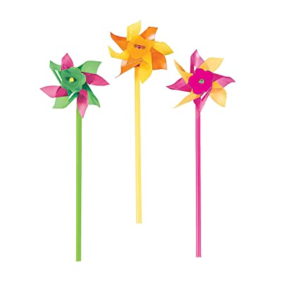 Fun Express - Neon Pinwheels (6dz) - Toys - Value Toys - Pinwheels - 72 Pieces: Toys & Games