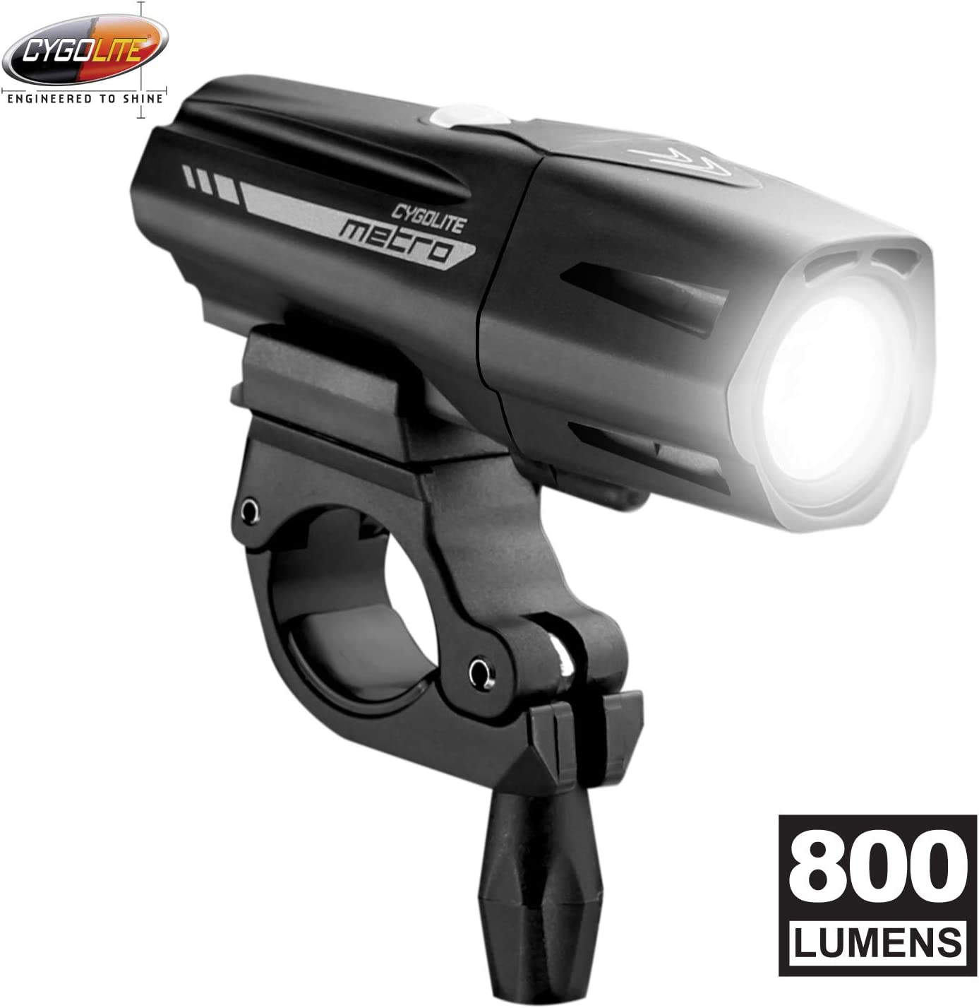 Cygolite Metro Plus 800 Lumen Bike Light 5 Night 3 Daytime Modes Compact Durable IP67 Waterproof Secured Hard Mount USB Rechargeable Headlight for Road, Mountain, Commuter Bicycles
