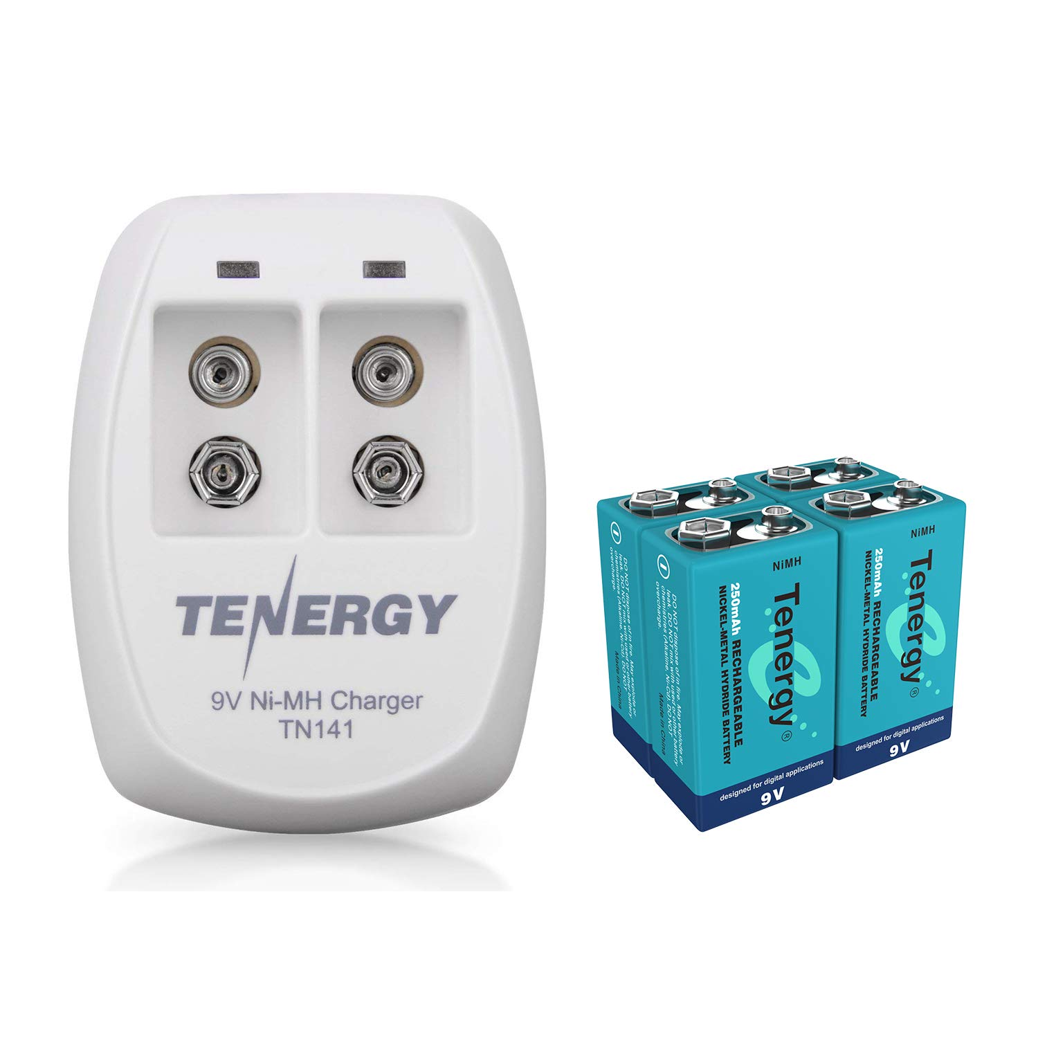 Tenergy 9V Battery Rechargeable 250mAh 4PCS NiMH Square Battery with 2 Bay 9V Battery Charger for Smoke Alarm/Detector