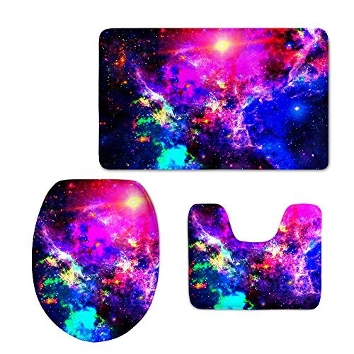 - Bigcardesigns Fashion Space Printed Bathroom Anti-Slip Mats Set