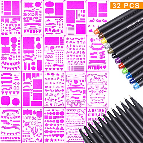 Bullet Journal Stencils and Fine Point Pens Starter Kit - Combo Set Includes 20 Templates & 12 Fineliner Tip Color Markers for Journaling Drawing Planners and All DIY Crafts Makel Crafts 4336946648
