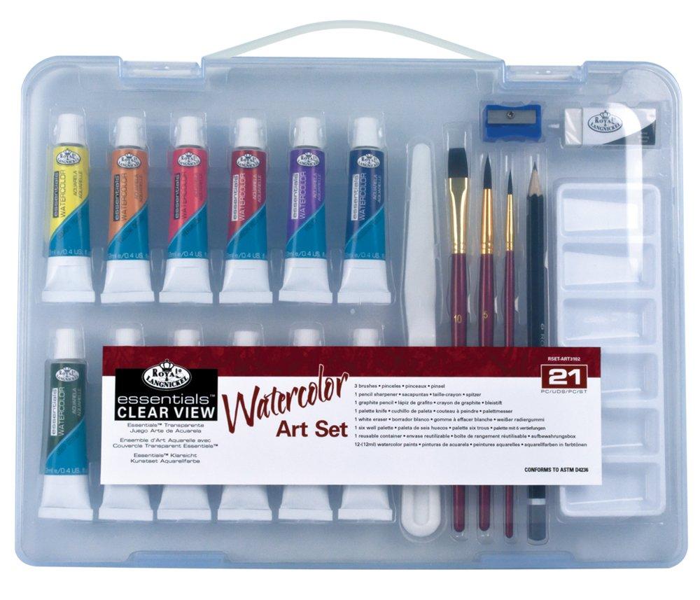 Royal & Langnickel - Kit da disegno colori acrilici in valigetta piccola trasparente Essentials 132655