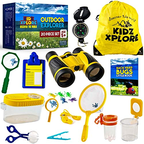 20 pack-explorer set kidzxplore | nature exploration kit children outdoor games mini binoculars kids compass whistle magnifying glass bug catching STEM Gift + ebook adventure activities bugs brochure