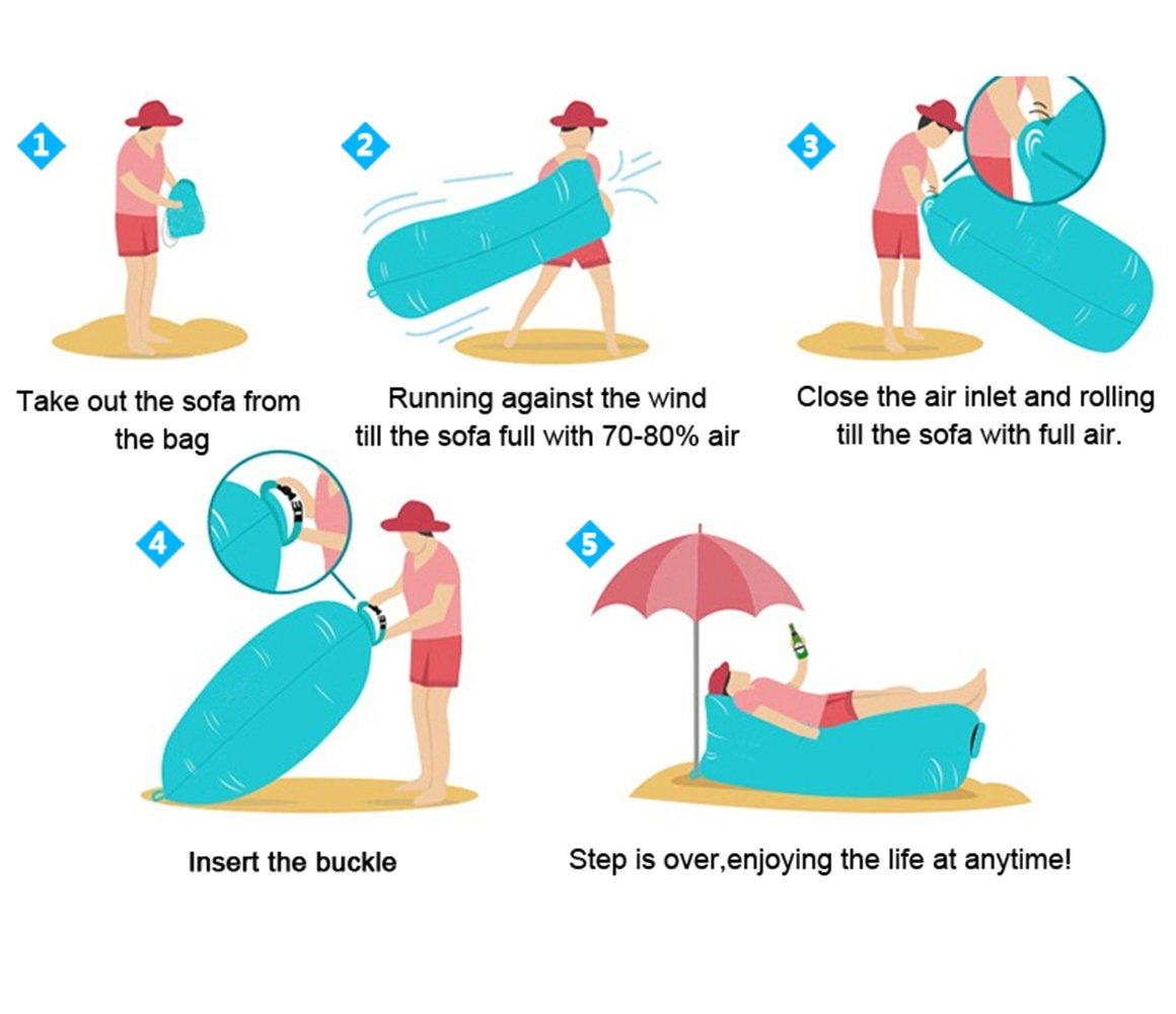 Tumbona inflable con bolsa de transporte; tumbona de playa; sofá ...
