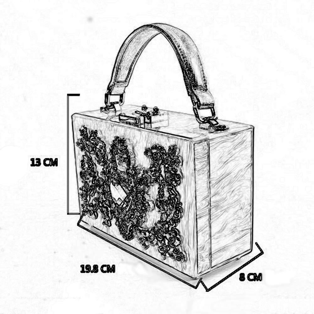 JU FU Shoulder Bags Shoulder Bag Color : White Acrylic//Alloy Flower 6 Colors Available @@ Fashion Creative Love Cutout Diamond Engraved Wedding Dinner Crossbody Shoulder Handle Square Bag