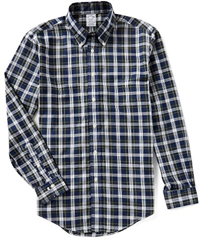 Brooks Brothers Non Iron Regent Fit Button Down Tartan Plaid Long Sleeve Woven Shirt (Large, Green Blue)