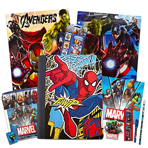 Marvel Avengers School Supplies Value Pack ~ 12 Pcs (Folders, Notebook, Pencil, Utensil Case, Stickers, and More)