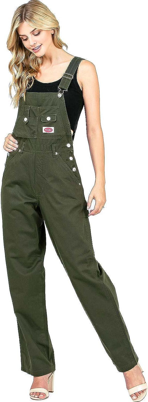 Revolt Women's Juniors Baggy Straight Leg Twill Overalls