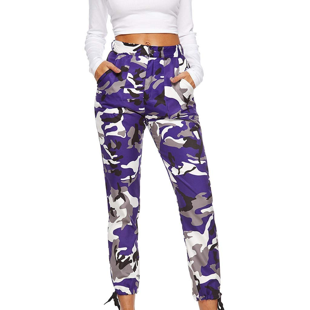 Pervobs Women's Casual Fashion Camouflage Sweatpants High Waist Sports Camouflage Pencil Trousers Pants(XL, Purple) by Pervobs Women Pants (Image #2)