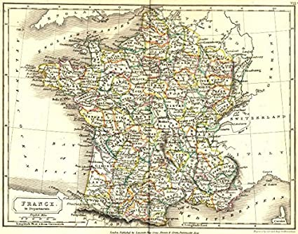 Map Of France Departments.Amazon Com France Departments Sidney Hall 1850 Old Map