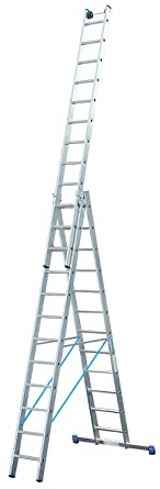 Favorit Vielzweck-Leiter, dreiteilig, Arbeitshöhe 9,55 m, Länge einteilig GU91