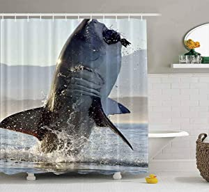 Musesh Shower Curtains,Wide Shower Curtains,78X72 Inch Shower Curtain with Hooks for Bathroom Great White Shark in Attack Hunting of South Africa Carcharias Breaching an a