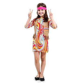 817813866 Fantasia Hippie Feminino Infantil 23754-M Sulamericana Fantasias M 6 8 Anos