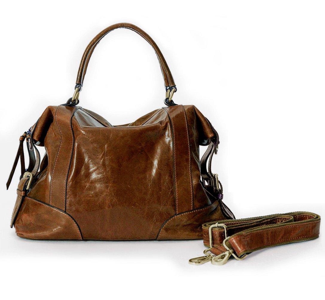 La Poet Women's Waxed Cowhide Hobo Satchel Shoulder Bag (Brown)