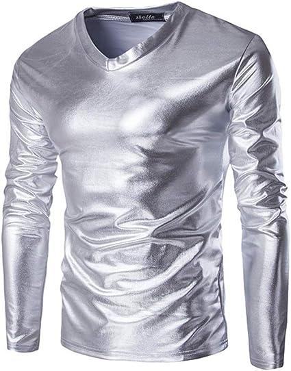 Camisas de manga larga con cuello en V metálico brillante de ...