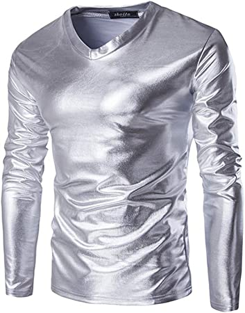 Camiseta de manga larga para hombre Camisas de manga larga con cuello en V metálico brillante