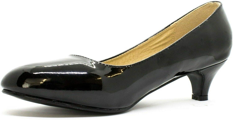 Womens Ladies Round Toe Kitten Heel Dress Work Party Pumps Big Sizes Shoes