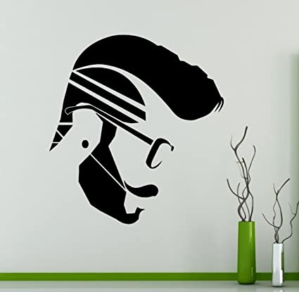 Man hair style hipster salon wall decal beauty salon wall vinyl sticker hair care wall graphics