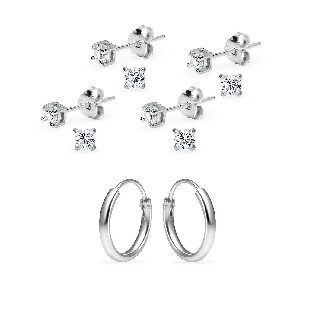 Five Pair Set Sterling Silver 10mm Endless Hoops and 4 x 3mm Round CZ Stud Unisex Cartilage Earrings Set