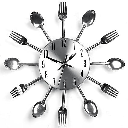 Relojes de pared diseño moderno plateado cubertería utensilios de cocina reloj de pared cuchara tenedor reloj